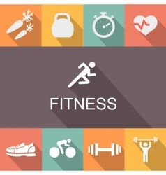 Fitness background in flat style vector image vector image