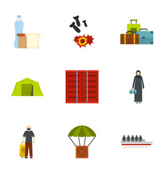 Forced immigration icons set flat style vector
