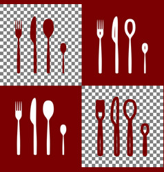 Fork spoon and knife sign bordo and white vector
