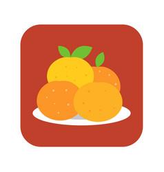 four mandarin orange in plate vector image vector image