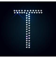 Gems t letter shiny diamond font vector