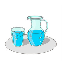 Glass and carafe with water vector