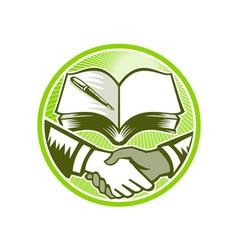 Handshake Book Pen Woodcut Circle vector image