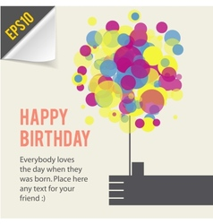 Happy birthday card template retro style vector