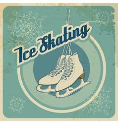 Ice skating retro card vector