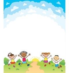 Kids Diploma certificate background design vector image vector image