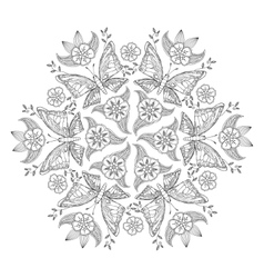 Mendie Mandala with butterflies and flowers For vector image vector image