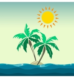 Palm trees and sun design elements vector
