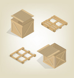 Realistic wooden box with pallet isometric vector