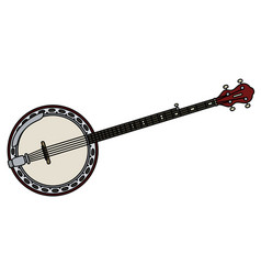 Red five string banjo vector