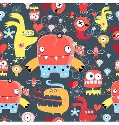 Seamless graphic pattern of amusing monsters vector image