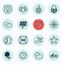 Set of 16 eco-friendly icons includes cloud vector