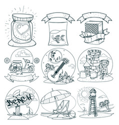 Set of the outline drawings on the theme of summer vector