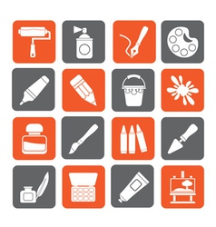 Silhouette painting and art object icons vector