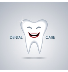 Smiling cartoon tooth isolated on green background vector image