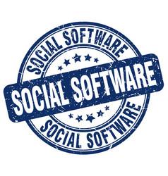 Social software blue grunge stamp vector