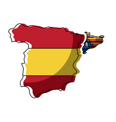 Spain map and catalonia flag independence vector