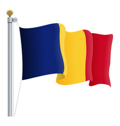waving romania flag isolated on a white background vector image
