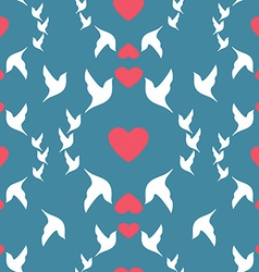 Wedding seamless pattern doves and hearts vector image