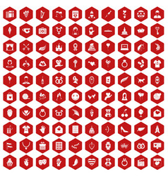 100 heart icons hexagon red vector
