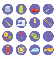 Set of sewing tools icons vector