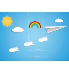 Paper plane and bombs toys vector image