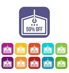 Sale tag 50 percent off icons set vector