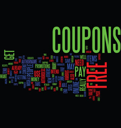 Free coupons text background word cloud concept vector