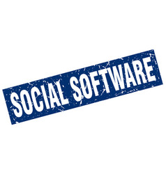 Square grunge blue social software stamp vector