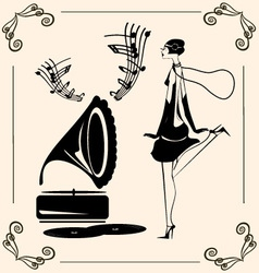 Vintage dancing lady vector