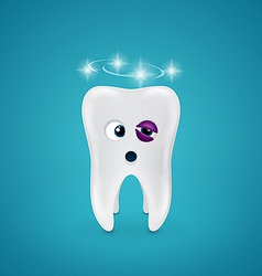 Tooth with a black eye and dizziness vector