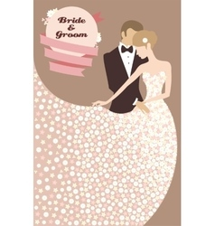 Wedding invitation with bride and groom vector