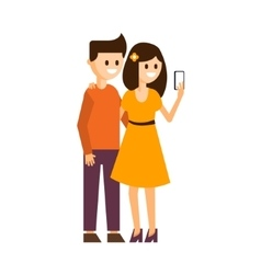Girl and boy making a selfie vector