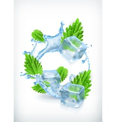 Mint with ice cubes and water splash icon vector