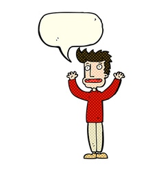Cartoon stressed man with speech bubble vector