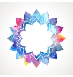 Watercolor flower oriental frame vector