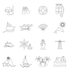 Sea icons set thin line style vector