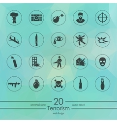 Set of terrorism icons vector