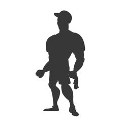 Man with fitness outfit icon silhouette vector