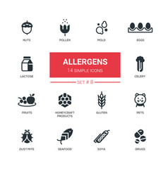 allergens - modern simple thin line design icons vector image