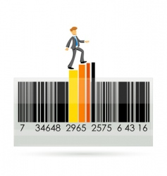 barcode with graph and businessman vector image vector image