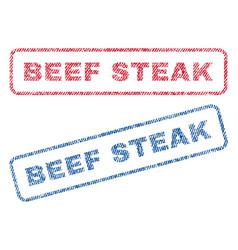 Beef steak textile stamps vector