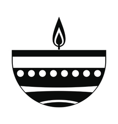 Burning candle in a clay candle holder icon vector