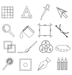 Computer graphics black outline icon set eps10 vector
