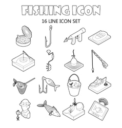 Fishing icons set outline style vector