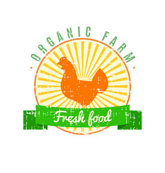 fresh food logo with chicken label with grunge vector image vector image