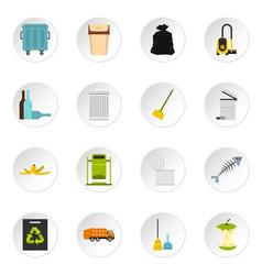 Garbage thing set flat icons vector