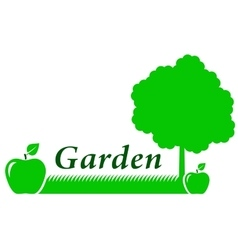 garden background with green apple vector image vector image