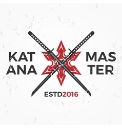 Japanese Ninja Logo Katana master insignia design vector image vector image