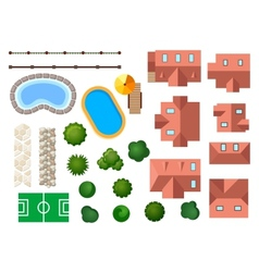 Landscape garden and architectural elements vector